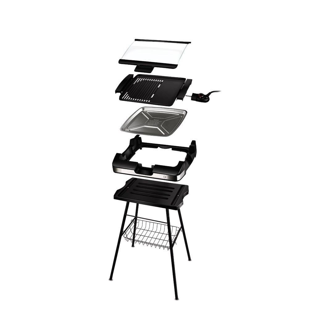 cloer 6720 barbecue grill mit standfuss und glasplatte. Black Bedroom Furniture Sets. Home Design Ideas